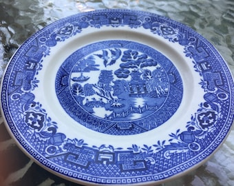 Antique Vintage Ridgway China Blue Willow Bread Plate