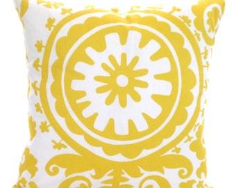 SALE Yellow White Pillow Cover Decorative Throw Pillows, Cushion Covers, Corn Yellow White Suzani, Pillows Couch Bed One or More ALL SIZES