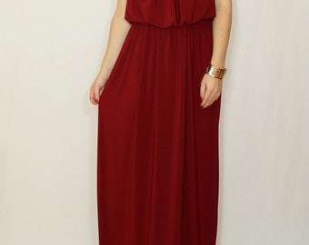 Bridesmaid dress Burgundy dress  Wine red maxi dress Long bridesmaid dress