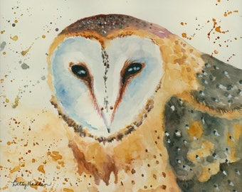 Barn Owl, original watercolor painting, 8 x 10 unframed, Here's Looking At You!
