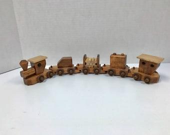 Wooden Toy Train 5 Car