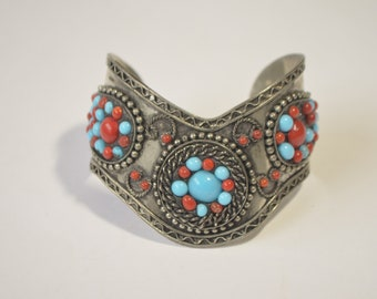 Vintage Sterling Silver Faux Blue Turquoise Red Coral Bead Cuff Bangle Bracelet