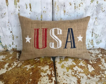 Burlap 4th of July Patriotic USA Painted Burlap Throw Accent Pillow Custom Colors Available Housewarming Hostess Summer Accent Decor
