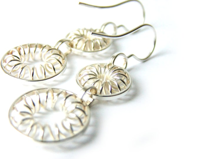 Statement Flower Dangles Silver Dangle Earrings with Swirls Inside Circles Dangley Silver Double Circle Long Modern Silver Filigree Hoops