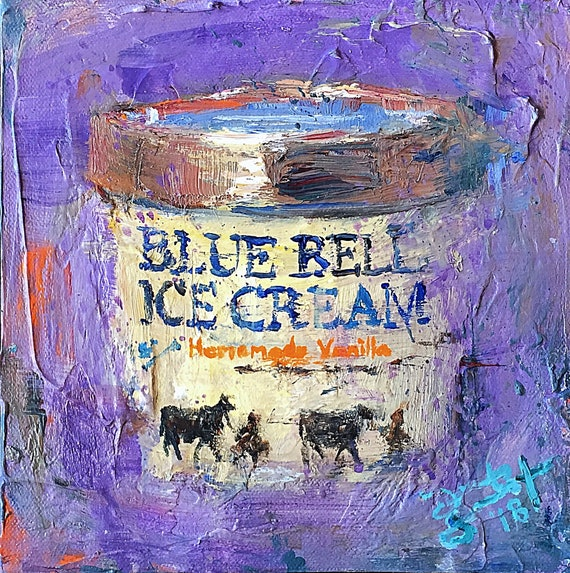 """""""Homemade Vanilla - Blue Bell Ice Cream"""" - 8""""x8"""" - Acrylic, Palette Knife & Brush on Gallery Wrapped Canvas by Jacob Secrest"""