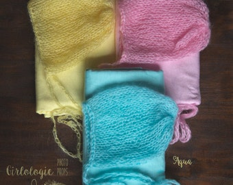 Newborn Bonnet & Wrap Set * Photo Prop  * Matching Set * Lemon  * Pink * Aqua *