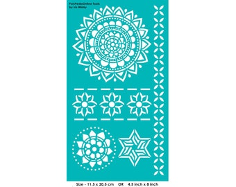 Stencil Mandala Stencils Pattern Template, Reusable, Adhesive, Flexible, for polymer clay, fabric, wood, glass, cards | MANDALA, FLOWER STAR
