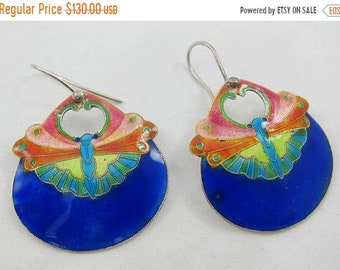 ON SALE Early 1970s Laurel Burch Enamel Butterfly Pierced Silver Sterling Earrings