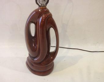 Brown Ceramic Lamp Midcentury Modern lighting Retro Atomic Mad Men era Vintage lamp