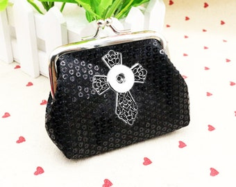 Black Sequin Coin/Change Purse 18-20mm Interchangeable Jewelry Fits Ginger Snaps CROSS