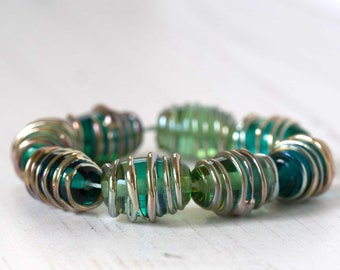 Teal Glass Lampwork Beads with Metallic Raised Threads
