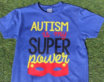 Autism Is My Super Power t-shirt design for kids, autism awareness, autism shirt, autism gift, ages 12 months up to Youth, support autism