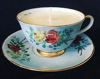 Teal tea cup candle