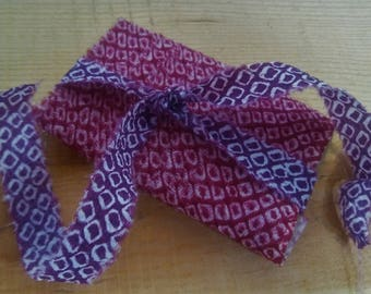 Vintage Cotton Kimono Shibori Fabric Trim in Red Great for Bows, Sewing Projects, Quilting