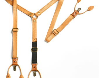 Camel Leather Suspenders. Wedding Suspenders. Leather Anniversary. Third Anniversary gift for him. 3rd anniversary gift. Groomsmen gift