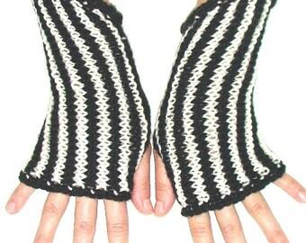 Fingerless Gloves Handmade Wrist Warmers Black and White
