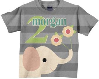 Elephant Birthday Shirt, Personalized Girl's Tshirt, Children's Clothing, Custom Top