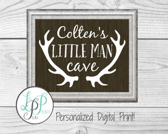 Little Man Cave, Personalized Baby Name Print, Baby Boy Nursery Name, Personalized Baby Boy Gift, Man Cave Name Print, Printable Man Cave