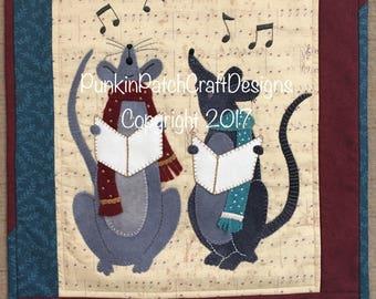 Wool Applique Pattern Caroling Mice