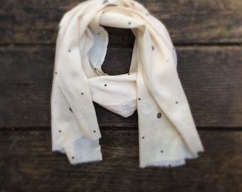 Sale: Child's scarf vintage silk 100% silk, ivory with black polka dots ONE SIZE