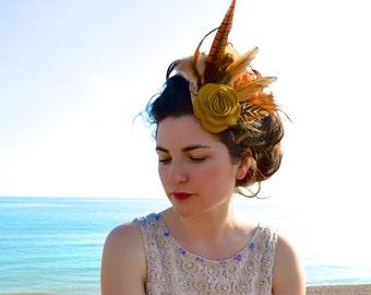 Caramel - Feather Comb Fascinator