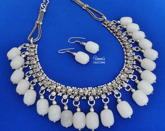 Oxidized Silver White Bead Indian Necklace Earring Set Jewelry
