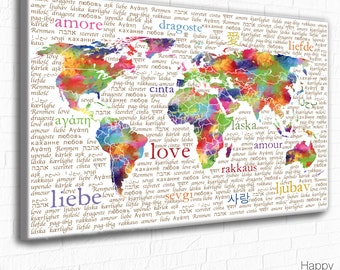 Colourful World Map Typography, LOVE Art Print, Bright Multicolour Wall Art, Love in Various Languages. Love Wall Art Poster, Romantic Print