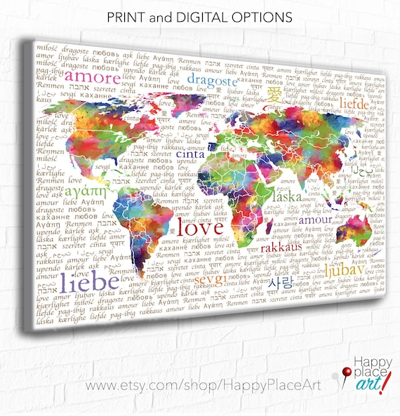 Colourful world map typography love art print bright gumiabroncs Image collections