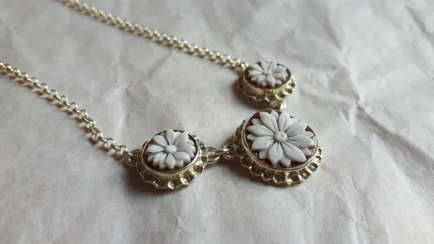 Shell cameos necklace 3 flowers italian cameo jewelry donadio description shell cameos necklace aloadofball Image collections