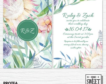 Wedding Invitations Printable, Protea, Flora, Australian, Boho wedding, Garden wedding, Gum leaves, Spring Wedding
