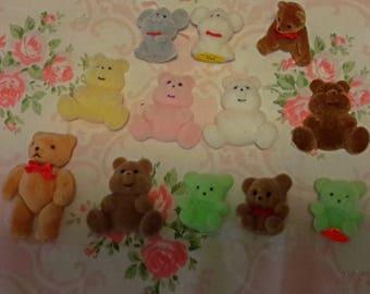 12 pcs MINI TINY FLOCKED animals bear mouse vintage collectibles