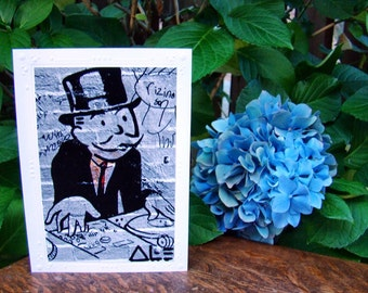 Street Art Monopoly Man New York City Blank Greeting Card 5 And Under
