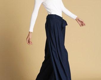 Navy blue pants, linen pants, women wide leg pants, maxi pants with self tie belt, unique linen pants, designers pants, custom made  (471)