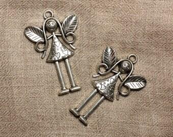 1pc - silver pendant Rhodium - 55mm 4558550025043 fairy