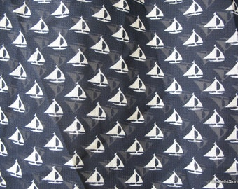 Top quality Dark Blue and White Sheer Polyester Georgette Sailboat / Nautical Print Fabric