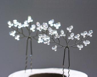 8222 Crystal hair pins, Hair accessories, Twig hair pins, Silver hair pins, Clear crystal hair pins, Wedding hair jewelry, Hair pins wedding