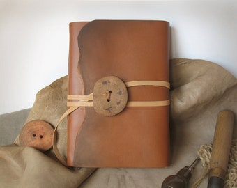 rustic leather journal - ocher vintage style notebook, blank book, travel journal - leather cover, vintage style pages