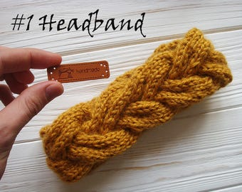 Cable Headband, Ear Warmer, Knit Fashion Accessory, Turban, Braid Headband, Valentine Gift, Winter Accessory, Knit Headband, Braided Warmer