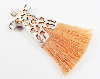 Peach Silk Thread Turkish Caftan Tassel Pendant - Matte Silver Plated - 1PC