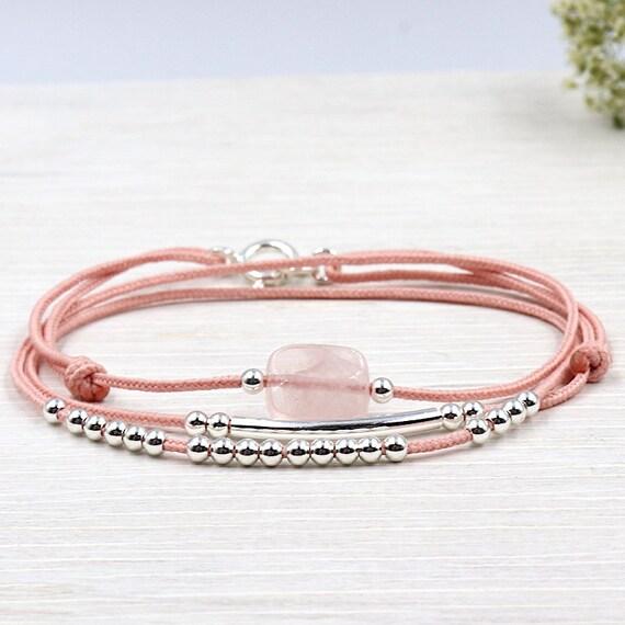 bracelet cordon trois tours quartz rose jonc et perles argent 925