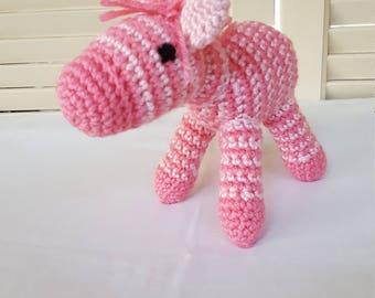 Crochet Pink Zebra Stuffed Animal / Crochet Doll / Amigurumi Toy/ Handmade Toys/ Gift For Kids/ Plush Animal/ Baby Shower Gift