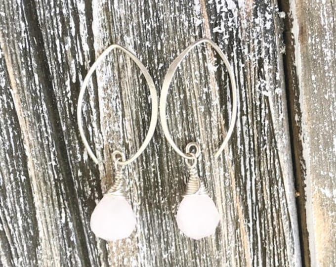 Featured listing image: Sterling Silver Rose Quartz Earrings