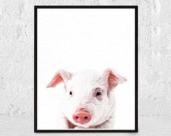 Pig art print, pig print, pig wall art, pig decor, farm art, farm decor, farm animal art, pig gift, pig portrait