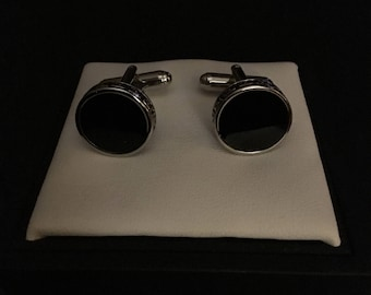 Saddlebred Black Epoxy With Nickel Cufflinls