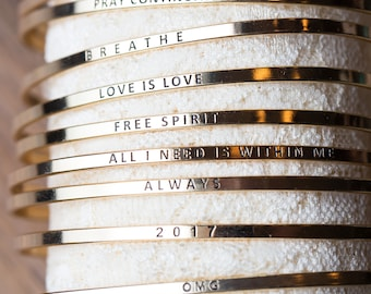 Sweet Phrase Bangles, gold silver and rose gold bangles, bridesmaid gifts, you're my person, hakuna matata, sisters