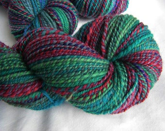 Handspun Louet Bluefaced Leicester Combo Spin / Barberpole BFL - Worsted Weight Wool - Bursting Into Bloom