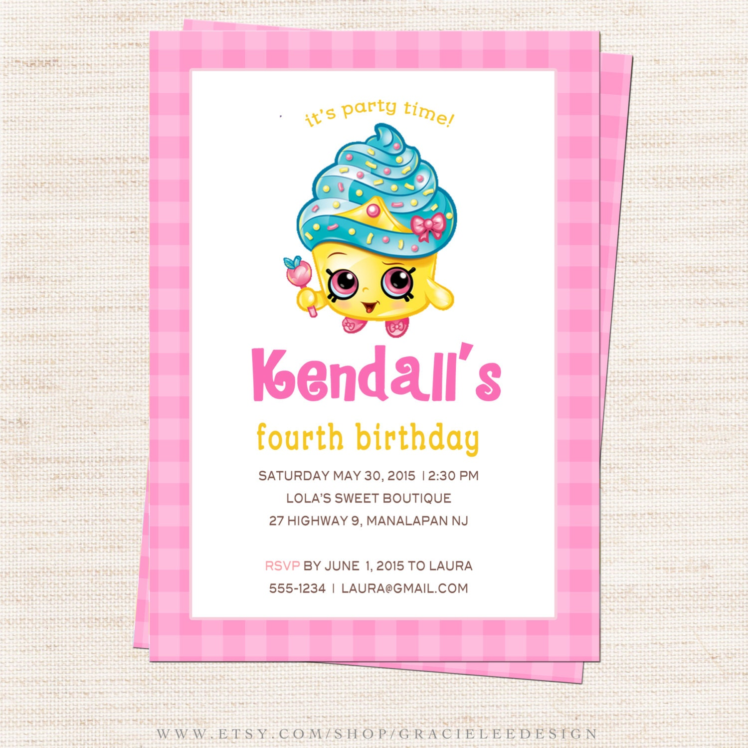 Shopkins Birthday Party Invitation Queen Cupcake Party