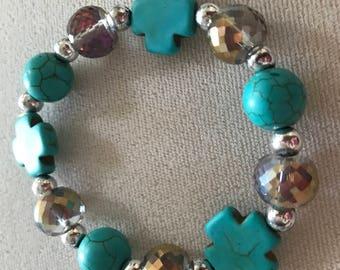 Turquoise Cross & Sparkle Bracelet