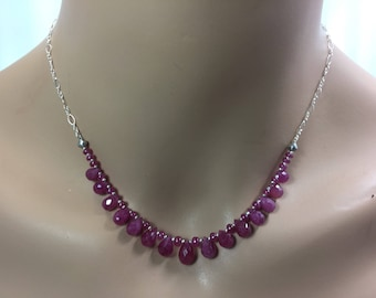 Pink Sapphire Necklace in Sterling Silver