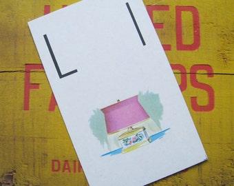 Vintage Large Flash Card - L is for Lamp - Great Illustration - 1958